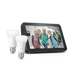 Echo Show 8, Tela de color antracita + Philips Hue White Pack de 2 bombillas LED inteligentes, compatible con Bluetooth y Zigbee