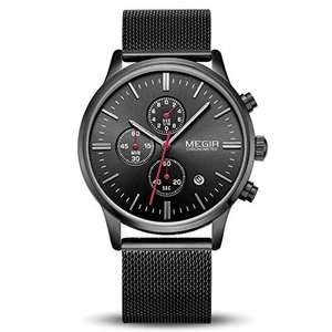Reloj de Pulsera MEGIR con Cronometro, Impermeable, Fecha, Calendario Analógico Cuarzo