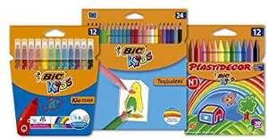 Pack de 12 Rotuladores, 12 Ceras y 24 Lápices de Colores BIC Kids Tropicolors