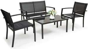 Conjunto jardín 4 piezas: sofá, 2 sillas y mesa