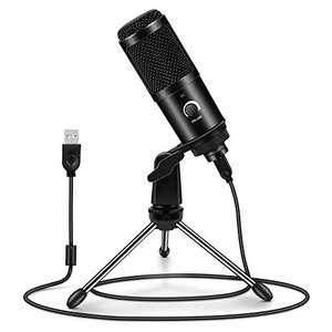 Micrófono USB Condensador Profesional con Soporte de Trípode para Streaming