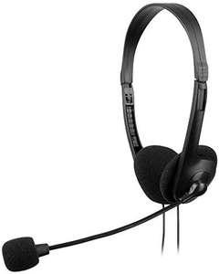 Auriculares con micrófono y Diadema Regulable, Negro