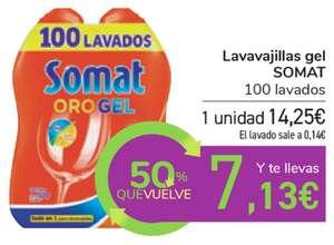 Detergente lavavajillas Somat 100 lavados 14,25€ + cupón 7,13€ para próxima compra