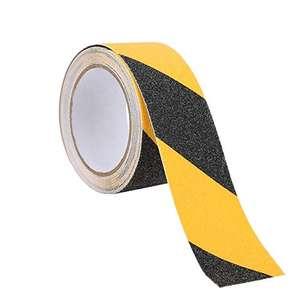 Cinta de seguridad antideslizante texturizada, amarillo y negro. Adhesiva. 5cm x 5m.