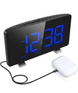 Reloj despertador digital,con puerto de carga, 4 niveles de brillo, tiempo de repetición ajustable, sensor de luz automático