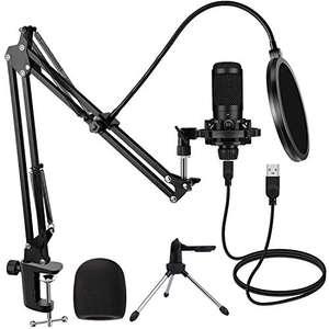 Micrófono de Condensador USB para Estudio de PC con Soporte y Trípode 192kHZ / 24bit
