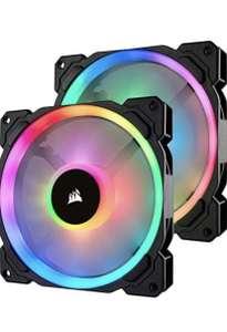 Pack de 2 Corsair LL140 RGB Ventilador de PC (140 mm, Doble Halo RGB LED PWM) con Lighting Node PRO