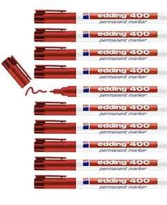10 rotuladores Edding 400 marcador permanente - rojo