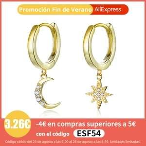 Pendientes de plata 925 Estrella y luna