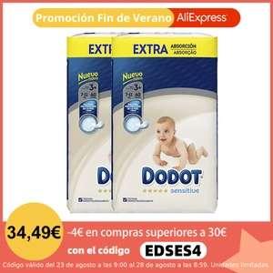 Pack x2 DODOT Pañales Sensitive Extra (tallas 3 a 6) - 30% + código 4€ + cupón