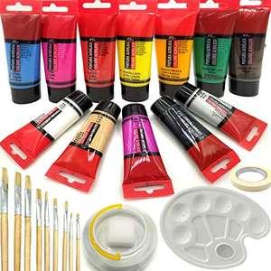 Pinturas acrílicas , 12 colores x45 ml, set de pintura para tela, cerámica, arcilla, madera y tejidos