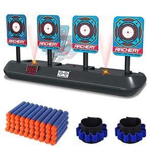 Juguetes de Tiro para Pistolas - Puntaje electrónico Restablecimiento automático 4 Objetivos Dardos de Espuma 40, Pulseras 2