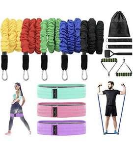 Set de bandas de resistencia,5 Bandas Elasticas Musculacion y 3 cintas gomas elasticas
