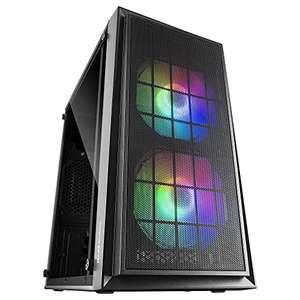 MARSGAMING MCDUO, Caja PC Micro ATX, Ventana Lateral + MESH, 2x Ventilador FRGB
