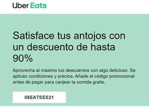 UBER EATS. Un descuento de hasta 90%