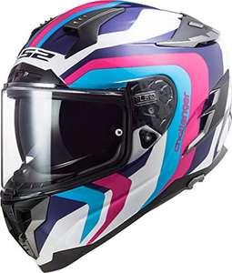 LS2 - Casco integral para moto, Challenger Galactic, blanco, azul, rosa, M