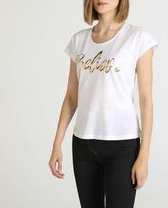 Camiseta de mujer con algodón y mensaje con lentejuelas