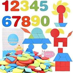 160pz Tangram Puzzle para Bloques de Patrones de Madera, Puzzles Juegos