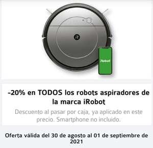 Carrefour,desde mañana y hasta el 1 de septiembre ,20% de descuento el los robots de la marca iRobot