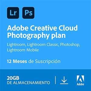 Adobe Creative Cloud Photography plan with 20GB   1 Año   PC/Mac   Código de activación enviado por email