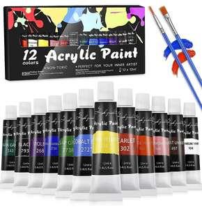 Set de Pinturas Acrílicas,12 x 12 ml+ 2 pinceles
