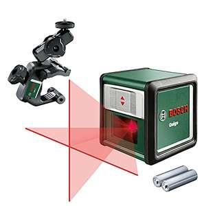 Bosch Quigo 3 - Nivel láser en cruz (2 pilas de 1.5 V AAA, pinza MM2, alcance: 10 m, precisión: ± 0,8 mm/m)