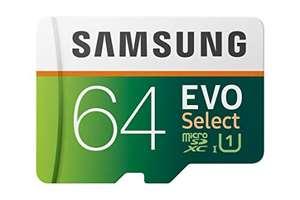 Samsung EVO Select - Tarjeta de Memoria microSD de 64 GB, 100 MB/s, Full HD y 4 K UHD, Incluye Adaptador SD