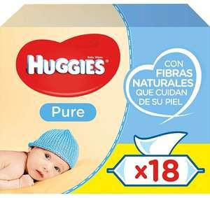 1008 toallitas Huggies Pure Toallitas para Bebé (18 paquetes de 56 uds)