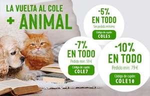 Descuento en todo zooplus 5% sin pedido mínimo, 7% mínimo 59€, 10% minimo 79€