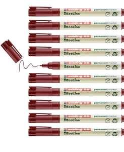 Pack de 10 Edding 25 EcoLine marcador permanente - rojo