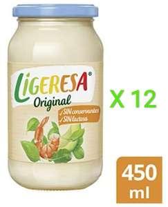 12 x Salsa mayonesa Ligeresa tarro 450ml original sin conservantes y sin lactosa (total 5,4 litros)