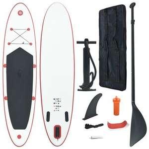 Set de paddle surf inflable SUP vidaXL 390 x 81 x 10 cm rojo y blanco