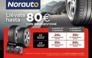 Compra neumáticos Bridgestone en Norauto y recibe hasta 80€ en tarjeta MasterCard