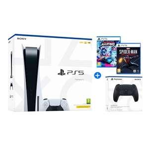 Playstation 5 825GB + Pack juegos Spiderman y Destruction All Stars + 2º DualSense Negro