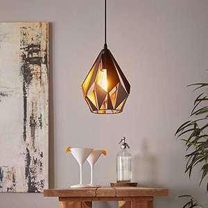 Rec. Estado muy bueno, Lámpara Suspendida Retro de Acero, color Negro, Cobre, Casquillo E27, 20.5 cm
