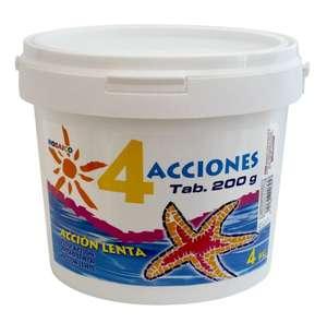 Pastillas de cloro para piscinas. Bote de 4 kg. Envío desde España