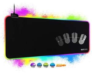 Alfombrilla XXL de Ratón RGB con 14 Modos de Luz. 800 x 300 x 4 mm