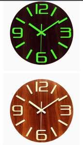 Reloj de Pared de 30cm de Madera Luminoso Silencioso con Luz Fluorescente