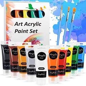 Pack 10 Botes Pintura Acrílica y 3 Pinceles
