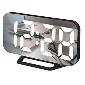 LONXAN Despertador digital, reloj digital LED con pantalla ultrafina y grande, despertador de viaje por USB, espejo portátil.
