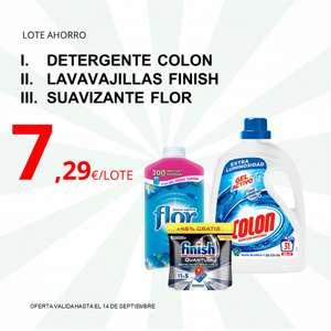 Lote con Detergente Colon + Lavavajillas Finish + Suavizante Flor