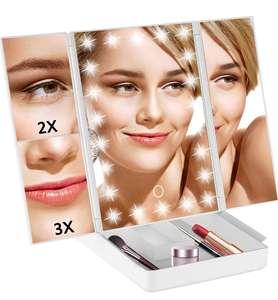Espejo Maquillaje con Luz Plegable con 22 Luces LED, 3 x 2 x 1