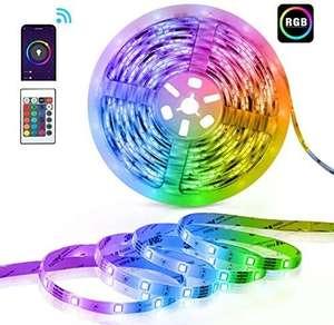 Tiras 5m LED, 12V Tira Luces LED RGB Inteligente Alexa/Google con Control App