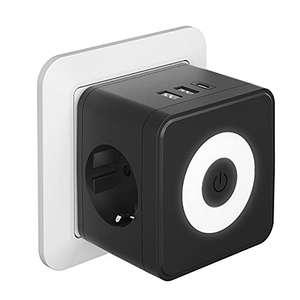 Kinglink Enchufe USB, 5 en 1 Cubo Ladron Enchufes con 3 puertos USB(3.4A max), (250V/10A) Enchufe USB Pared, Cubo Enchufe Multiple