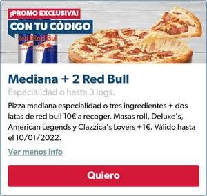 Pizza mediana especialidad o tres ingredientes + dos latas de Red Bull por 10€ en pedidos a recoger en la App de Domino's Pizza