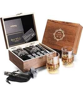 Baban Whisky Set, con 2X Tazas de Whisky 200ml, 8X Whisky Piedras, 1X Pinzas, 1X Bolsa de Hielo,1X Exquisita Caja de Madera