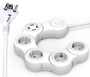 Regleta Enchufes rotativo con Protección Sobretensiones 4 Tomas corriente + 4 Puertos USB + Interruptor. Cable 1.5M