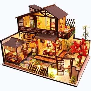 Chollo para esta casa en miniatura completa de estilo oriental con luces, de madera.