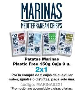 2x1 en patatas marinas Mediterraneans Crisps, caja 9 unid.