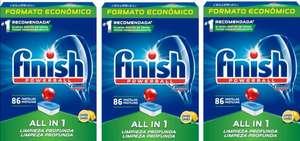 3 X 2 [Pack de 3 x 86= 258 Und.] Finish Powerball All in 1 Original, Fragancia Limón. Todo en 1